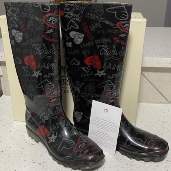 Coach Pixie Pop Heart Rain Boots Size 8
